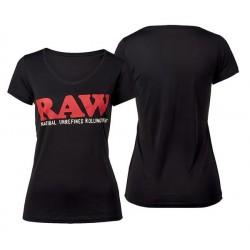 RAW Shirt Logo V-Neck Girl Black