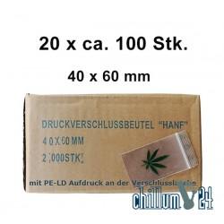 Box 20x 100 BAGGIES mit Blatt 40x60x0,05 mm