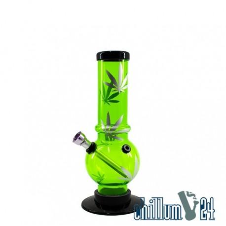 Acryl Mini Bong Bubble Straight LEAF Green 20 cm