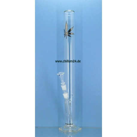 BamBamBhole Powerglas Zylinderbong 60cm Hanfblatt