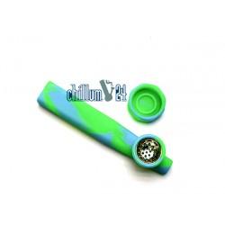Jelly Joker Silikon-Handpfeife Grün-Hellblau 12cm