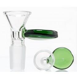 Glassteckkopf 18,8er klar mit grünem Griff