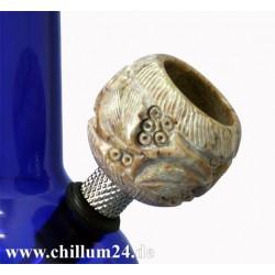 Speckstein-Siebkopf mit Schnitzereien 3,4 cm