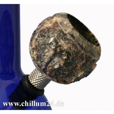 Speckstein-Siebkopf mit Schnitzereien 4 cm